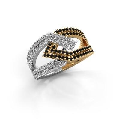Ring Emanuelle 585 goud zwarte diamant 0.836 crt