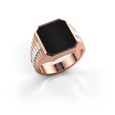 Foto van Rolex stijl ring Brent 3 585 rosé goud onyx 14x12 mm
