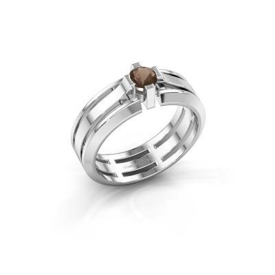 Foto van Heren ring Sem 950 platina rookkwarts 4.7 mm