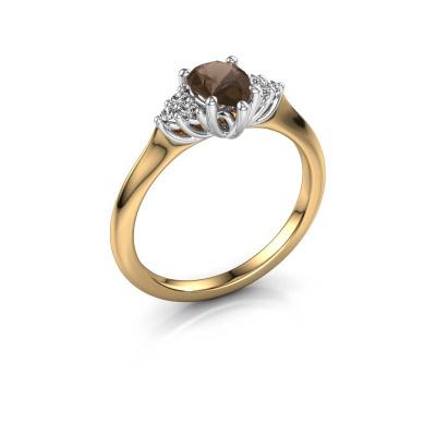 Verlovingsring Felipa per 585 goud rookkwarts 7x5 mm