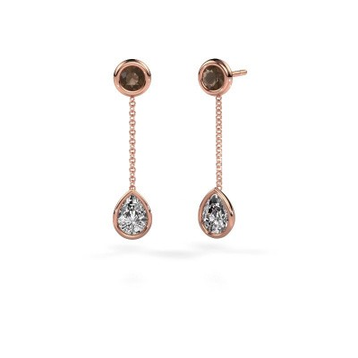 Drop earrings Ladawn 585 rose gold zirconia 7x5 mm