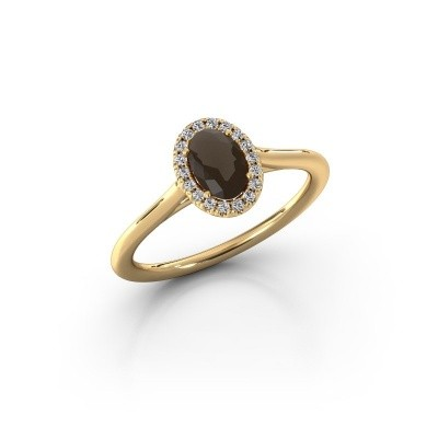 Engagement ring Seline 1 375 gold smokey quartz 6x4 mm