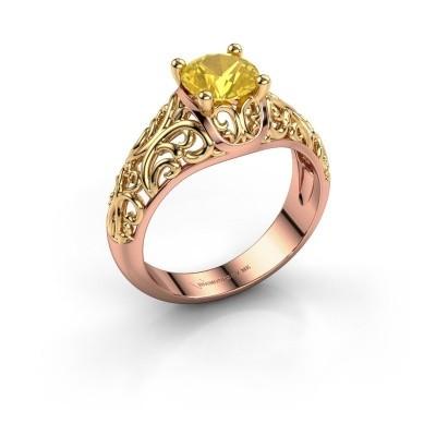Foto van Ring Mirte 585 rosé goud gele saffier 6.5 mm