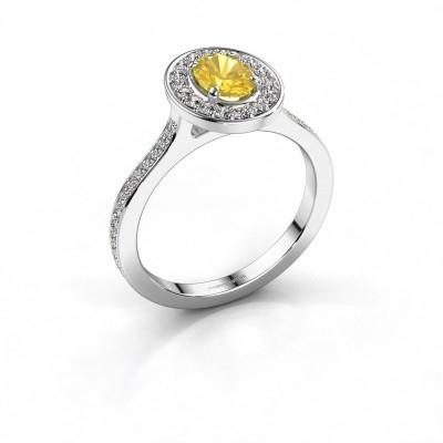 Foto van Ring Madelon 2 585 witgoud gele saffier 7x5 mm