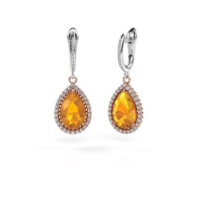 Pendants d'oreilles Tilly per 4 585 or rose citrine 12x8 mm