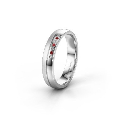 Wedding ring WH0216L24APM 950 platinum ruby ±4x1.7 mm