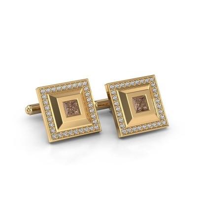 Foto van Manchetknopen Joris 585 goud bruine diamant 1.46 crt