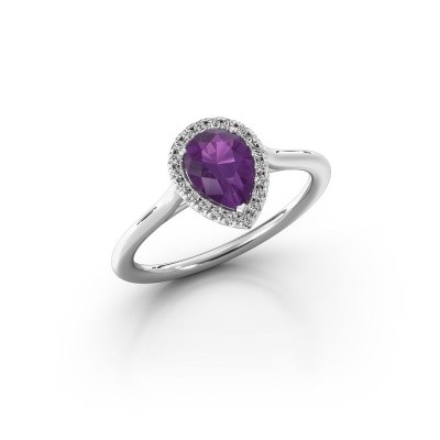 Engagement ring Monique 1 585 white gold amethyst 7x5 mm