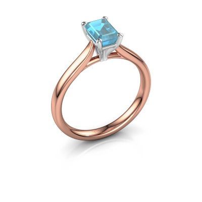 Verlobungsring Mignon eme 1 585 Roségold Blau Topas 6.5x4.5 mm