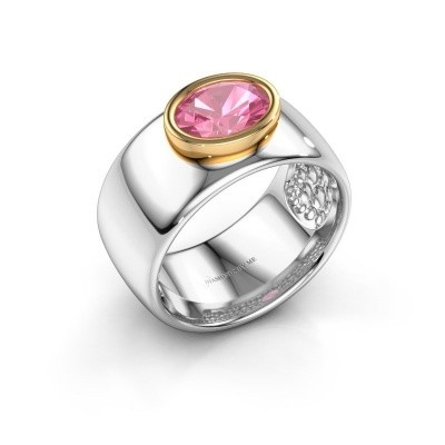 Ring Anouschka 585 witgoud roze saffier 8x6 mm