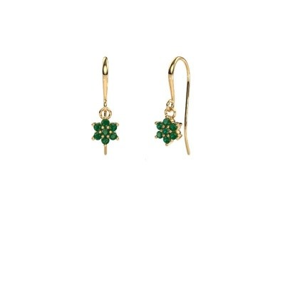 Picture of Drop earrings Dahlia 1 375 gold emerald 1.7 mm