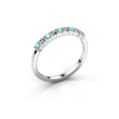 Foto van Verlovingsring Yasmin 9 925 zilver blauw topaas 2.4 mm