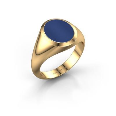 Chevalière Evon 2 585 or jaune lapis lazuli 12x10 mm