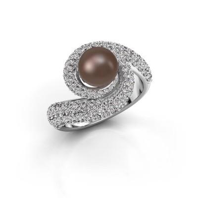 Bild von Ring Klasina 950 Platin Braun Perl 7 mm