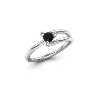 Foto van Ring Roosmarijn 925 zilver zwarte diamant 0.24 crt