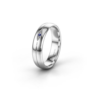 Wedding ring WH0219L35X 585 white gold sapphire ±5x1.4 mm