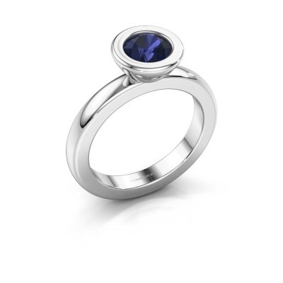 Stacking ring Eloise Round 585 white gold sapphire 6 mm