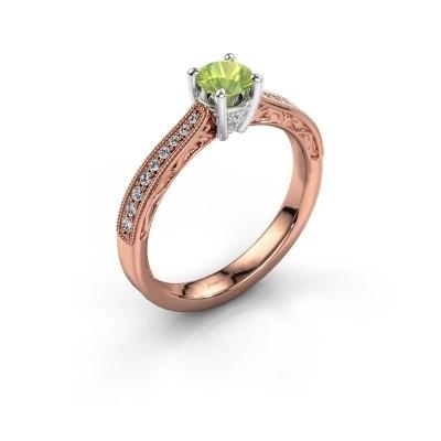 Belofte ring Shonta RND 585 rosé goud peridoot 4.7 mm