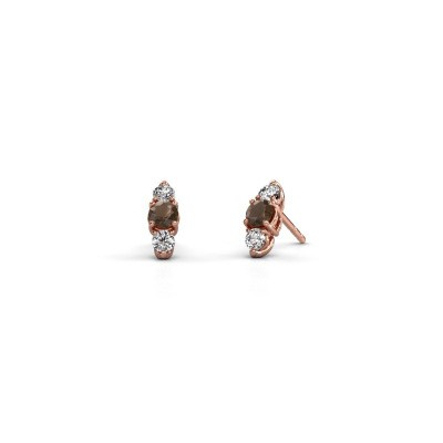 Picture of Earrings Amie 375 rose gold smokey quartz 4 mm