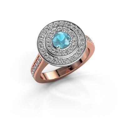 Foto van Ring Alecia 2 585 rosé goud blauw topaas 5 mm