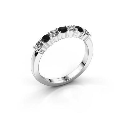 Foto van Verlovingsring Yasmin 7 585 witgoud zwarte diamant 0.608 crt