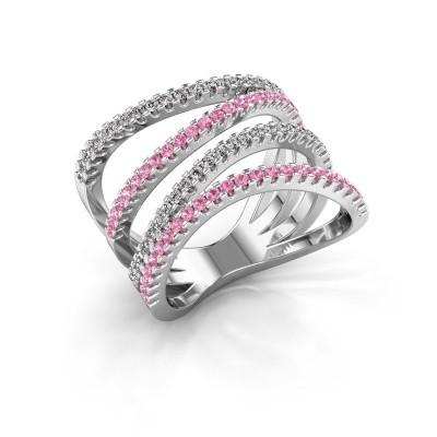 Ring Mitzi 950 platina roze saffier 1.2 mm