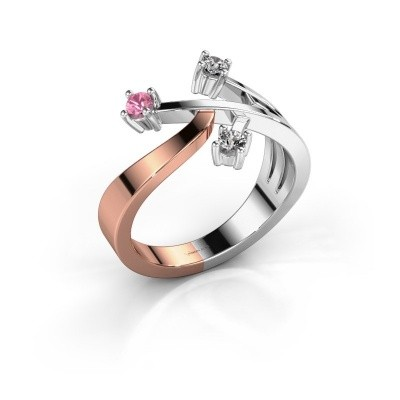 Ring Lillian 585 rosé goud roze saffier 2.5 mm