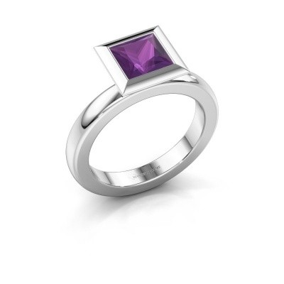 Stapelring Trudy Square 950 platina amethist 6 mm