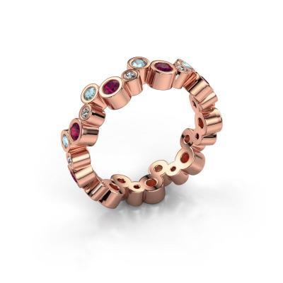 Ring Tessa 585 rosé goud rhodoliet 2.5 mm