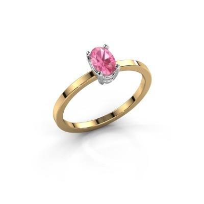 Foto van Ring Lynelle 1 585 goud roze saffier 6x4 mm
