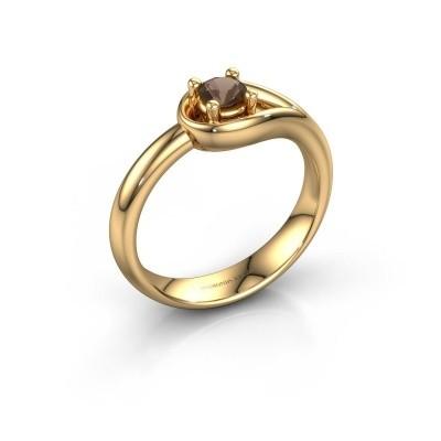 Ring Fabienne 585 gold smokey quartz 4 mm