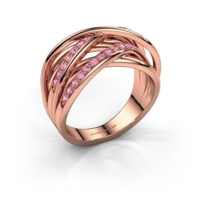 Ring Fem 2 375 rose gold pink sapphire 1.5 mm