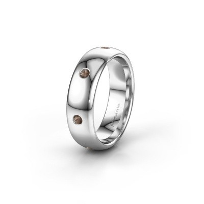 Wedding ring WH0105L36BP 925 silver smokey quartz ±6x2 mm