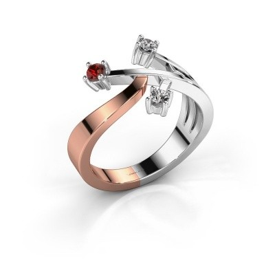 Ring Lillian 585 rosé goud granaat 2.5 mm