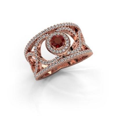 Foto van Ring Regina 375 rosé goud granaat 4.2 mm