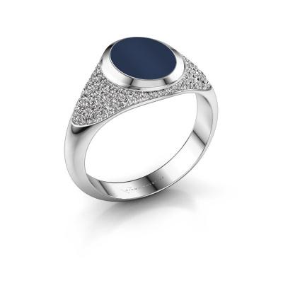 Foto van Zegelring Susana 950 platina donker blauw lagensteen 10x8 mm