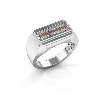 Heren ring Gerard 585 witgoud bruine diamant 0.30 crt