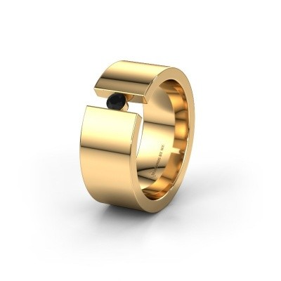 Trouwring WH0146L18BP 375 goud zwarte diamant ±8x2 mm