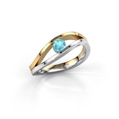 Foto van Ring Sigrid 1 585 witgoud blauw topaas 4 mm