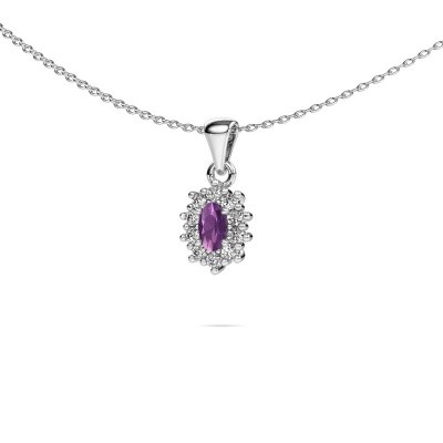 Picture of Necklace Leesa 585 white gold amethyst 6x4 mm