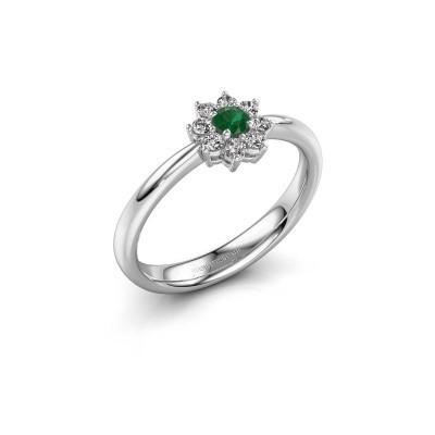 Foto van Verlovingsring Camille 1 585 witgoud smaragd 3.4 mm