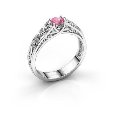 Foto van Ring Quinty 925 zilver roze saffier 4 mm
