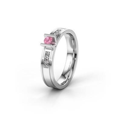Trouwring WH2108L14A 925 zilver roze saffier ±4x1.7 mm