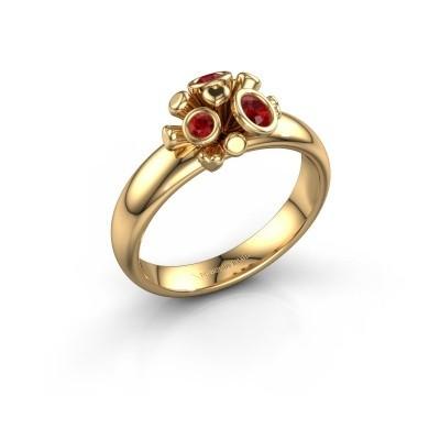 Ring Pameila 585 goud robijn 2 mm