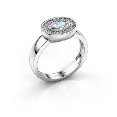 Ring Azra 925 silver aquamarine 5x3 mm