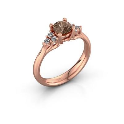 Picture of Engagement ring Monika RND 375 rose gold brown diamond 0.80 crt