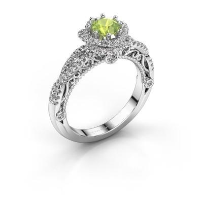 Engagement ring Lysanne 585 white gold peridot 5 mm