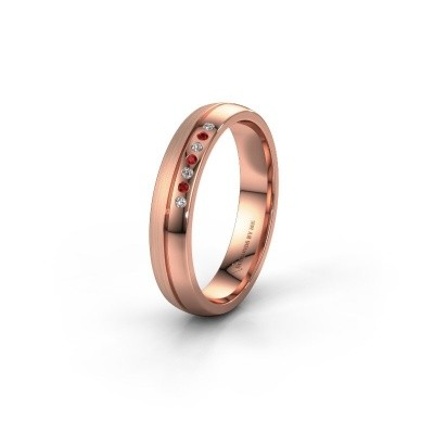 Wedding ring WH0216L24APM 585 rose gold ruby ±4x1.7 mm
