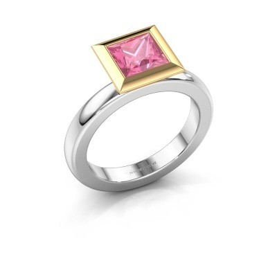 Stapelring Trudy Square 585 witgoud roze saffier 6 mm