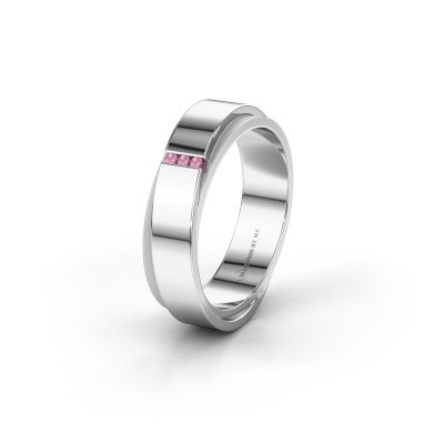 Wedding ring WH6012LX6A 585 white gold pink sapphire ±6x1.7 mm